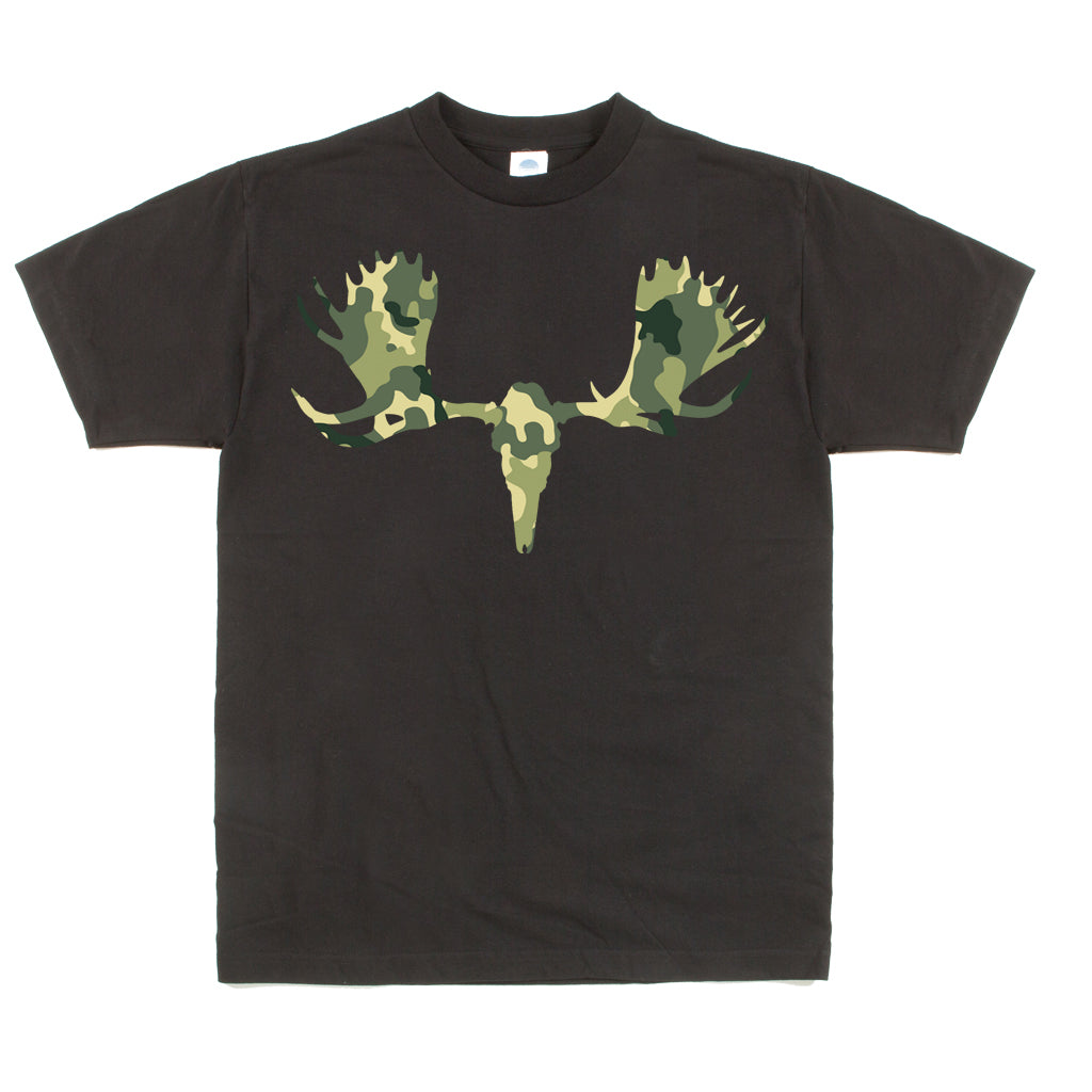Unisex Custom Graphic Camo Moose Skull Tee