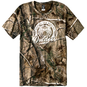Women's Custom Printed Camo Outdoors Logo Tee