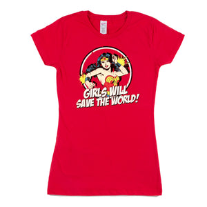 Unisex Custom Printed Wonder Woman Tee red