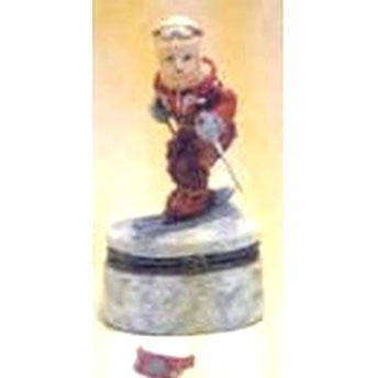 Child Skiing Trinket Box