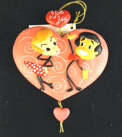 Lucy and Ricky Stick Figures on Heart Ornament