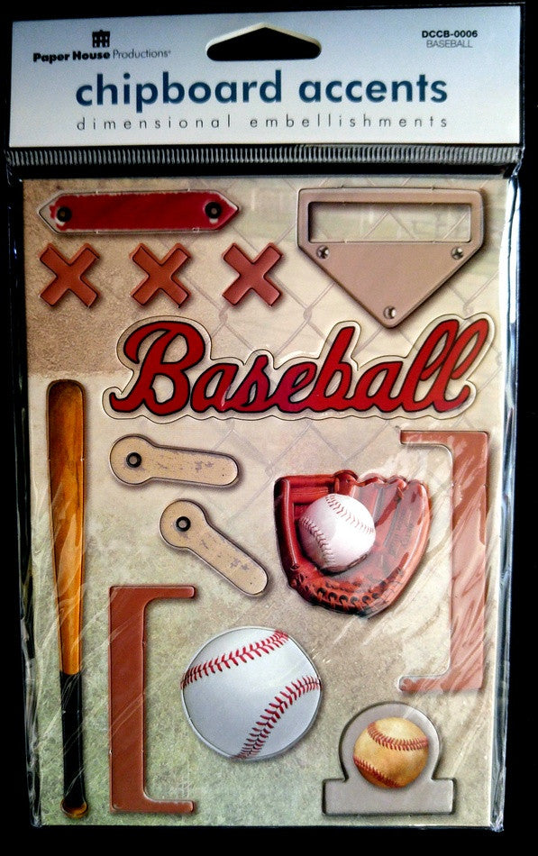Paper House Production Baseballl Chipboard Stickers