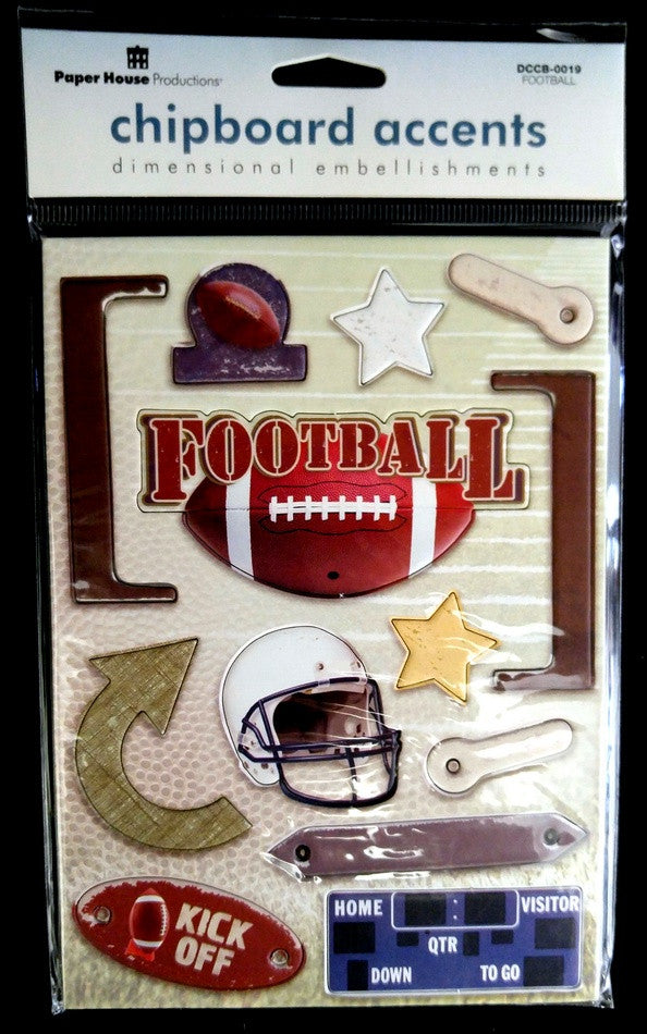 Paper House Production Football Chipboard Stickers