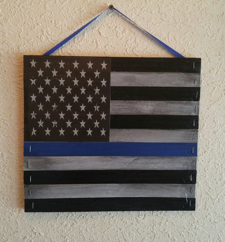 Officers Down Thin Blue Line Police Mini Pallet USA Flag