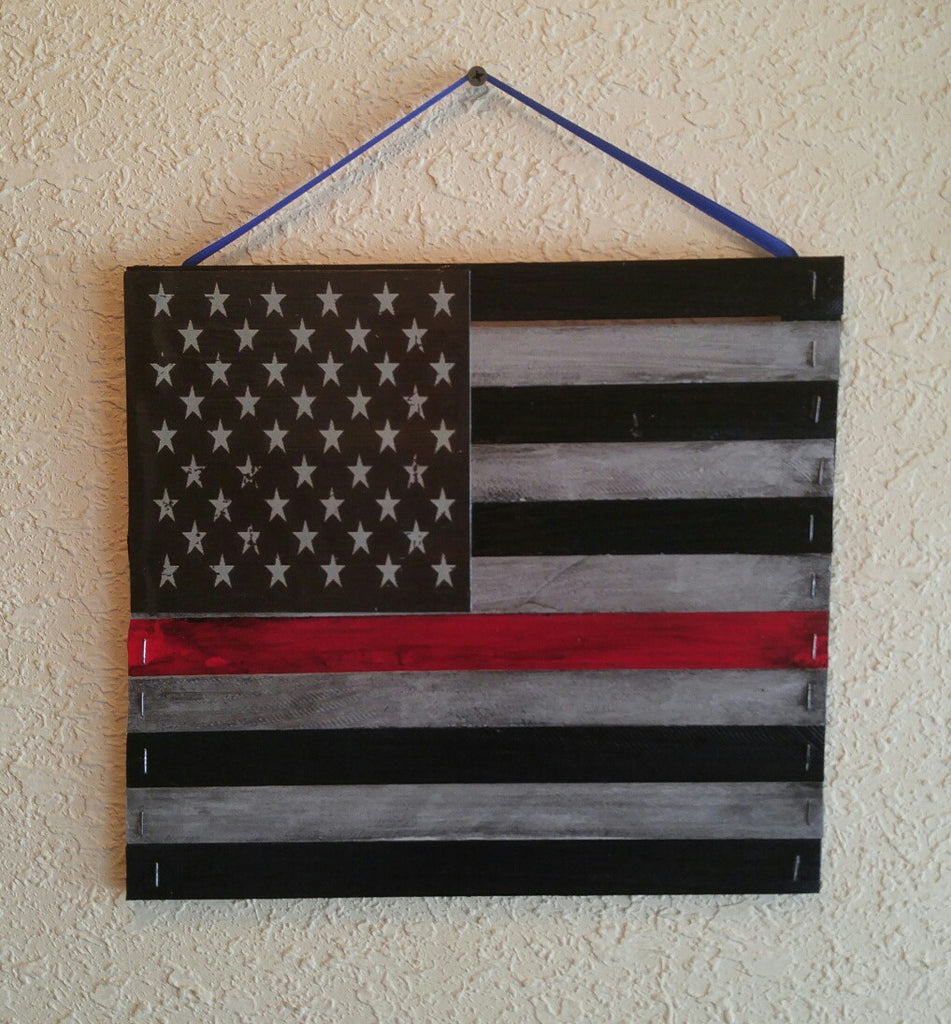 Firefighter Down Thin Red Line Mini Pallet USA Flag