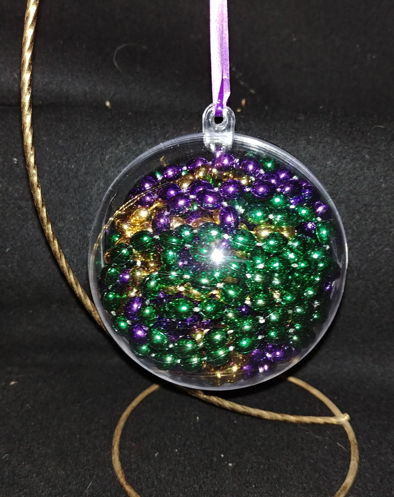 Mardi Gras Beads Christmas Ornament- Customize with a Name