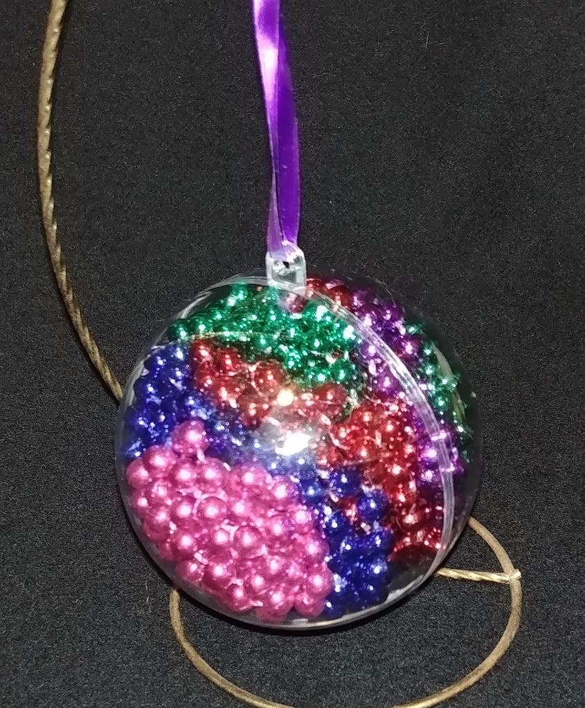 Pink, Blue, Red and Green Beads Christmas Ornament- Customize with a Name