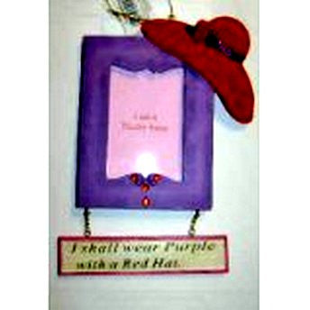Red Hat Society Picture Frame Ornament - Square