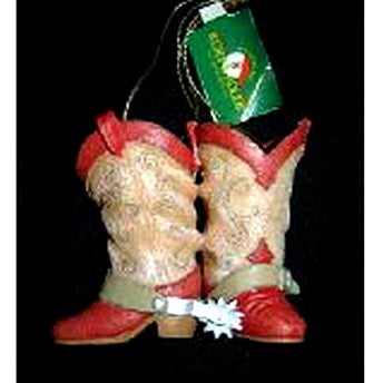 Red Trimmed Cowboy Boots Ornament