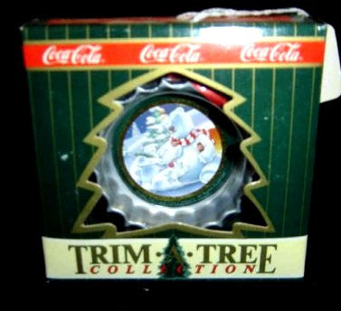 Coca Cola Bottle Cap Christmas Ornament Polar Bear Family