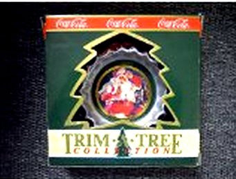 Coca Cola Bottle Cap Trim a Tree Christmas Ornament Santa Wiping Forehead
