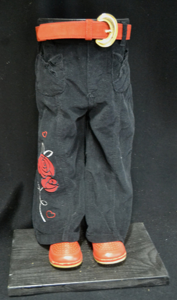 Black Pants with Red Flowers Pot Pant Planter