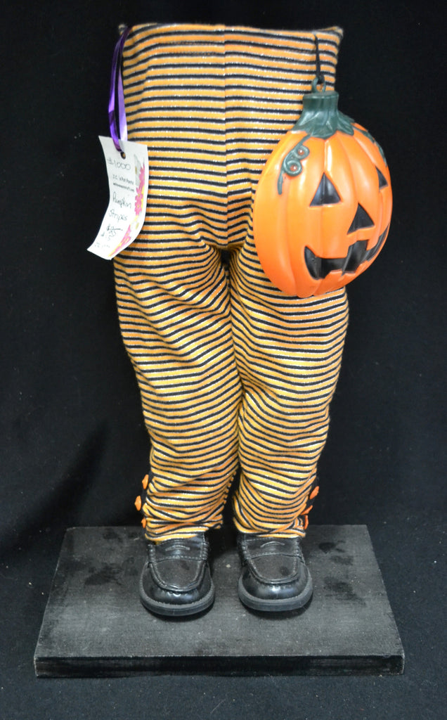 Orange Stripped Pants with Pumpkin Halloween Pot Pant Planter