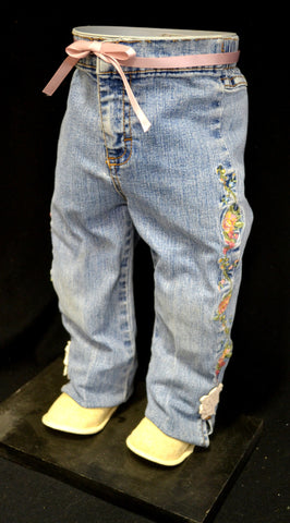Blue Jeans with Flowers Down Side and Pastel Pink Ribbon Belt Pot Pant Planter