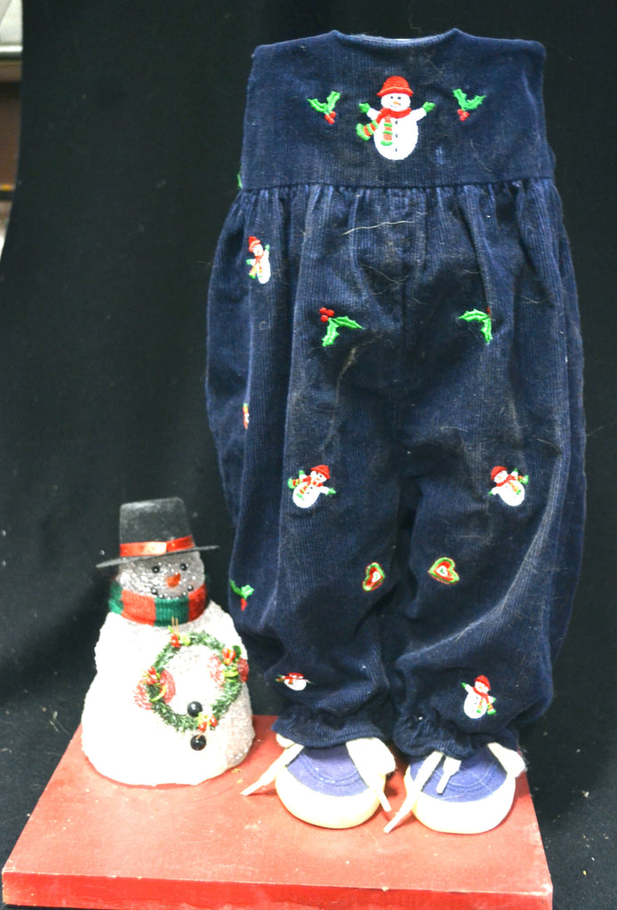 Christmas Navy Blue Corduroy Overalls with Snowmen Pot Pant Planter