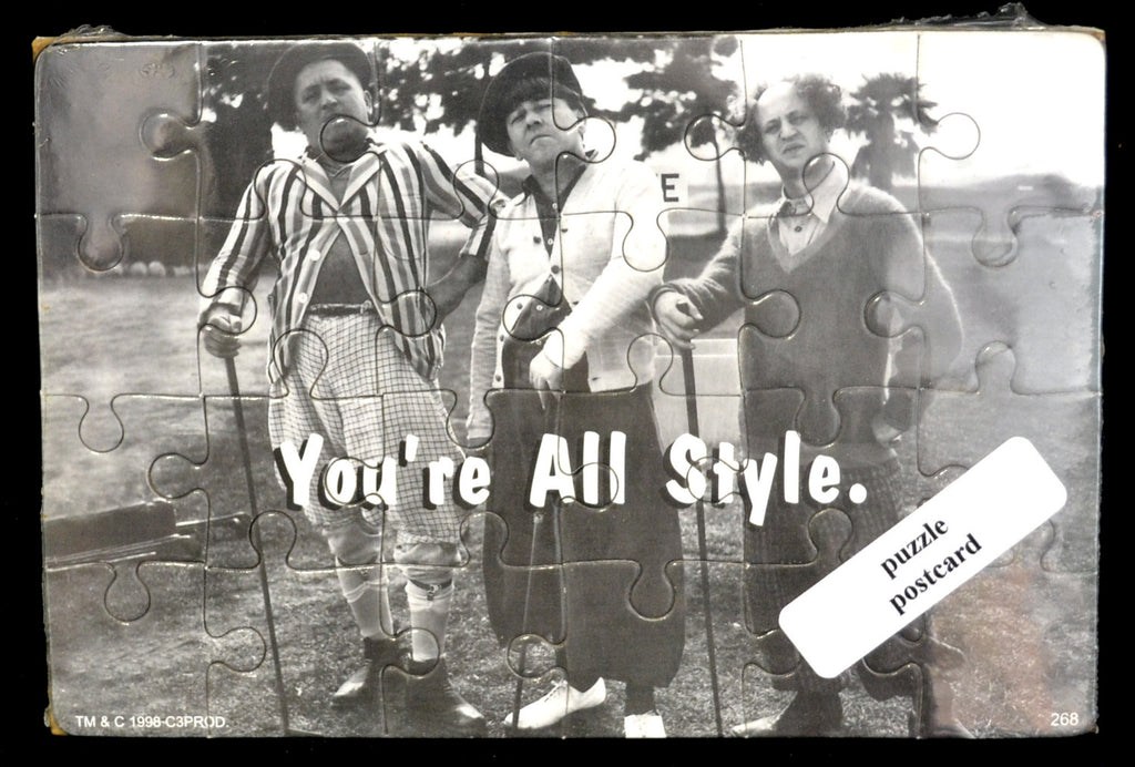 Three Stooges Golfing You're All Style Puzzle Postcard