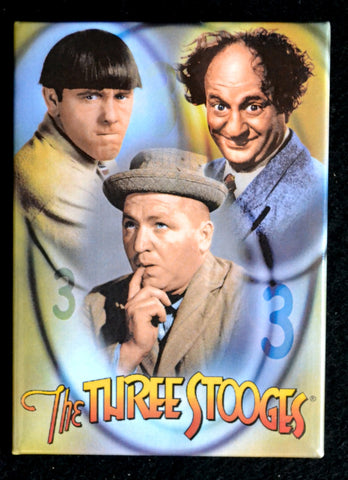 Three Stooges Magnet Group on Green Background