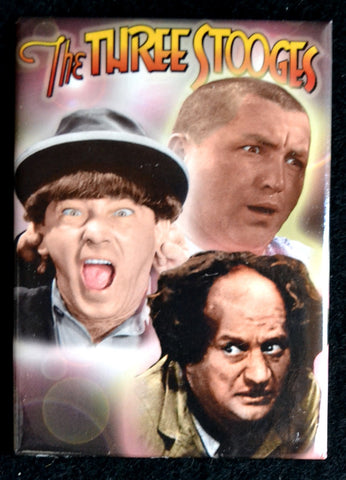 Three Stooges Group Magnet on Brown Background