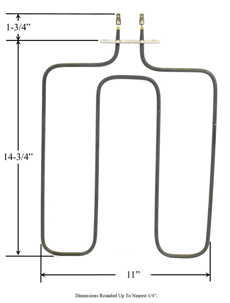 Model TC-2863: Electrolux/Frigidaire 5303207152 / Tappan 220T017P02 Equivalent Range/Oven Broil Replacement Element, 3,000W / 2,077W @ 250V / 208V