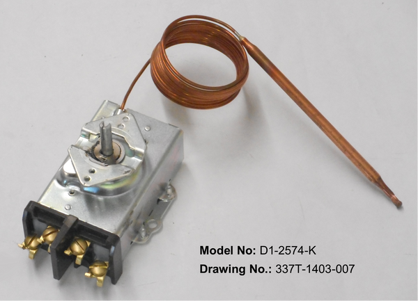 D1-2574: 60°-250°F DPST Heating Line Voltage Mechanical Thermostat, 120 to 480VAC