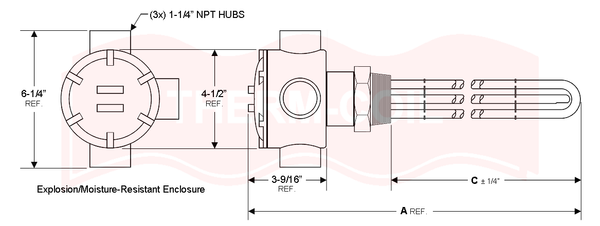 "S-10043-41WPT: 10kW @ 240V Ammonia Heater (Unregulated) - 41"" Immersion Length, 2"" NPT Steel Screw Plug, Explosion-Resistant Enclosure"