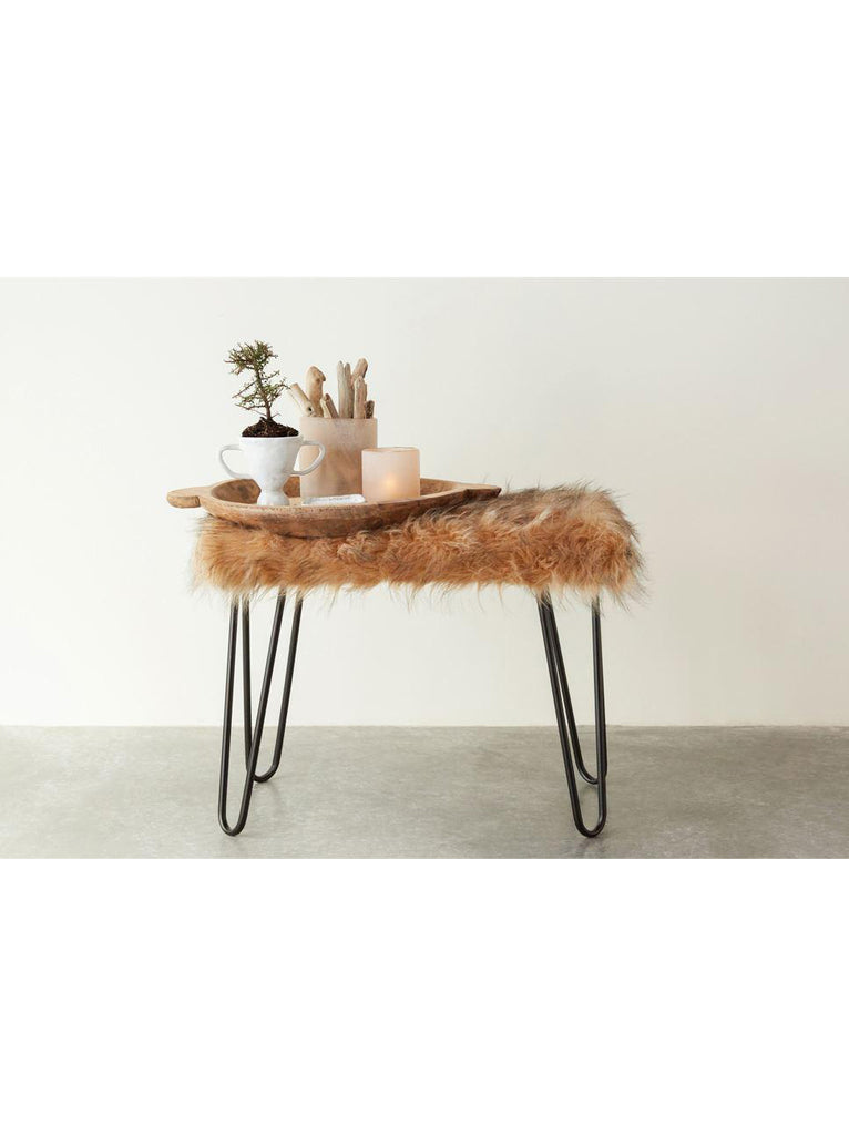 Faux Fur Metal Bench