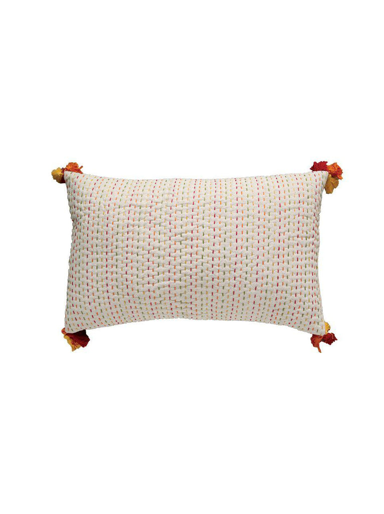 Cotton & Flax Kantha Stitch Pillow