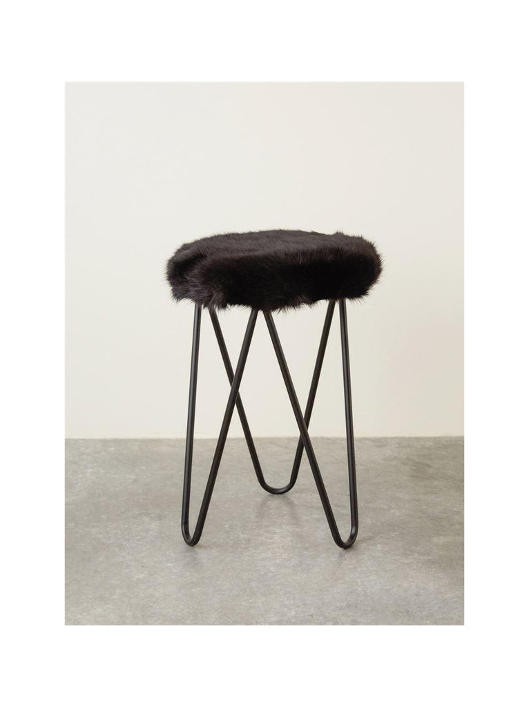 Faux Fur Metal Stool