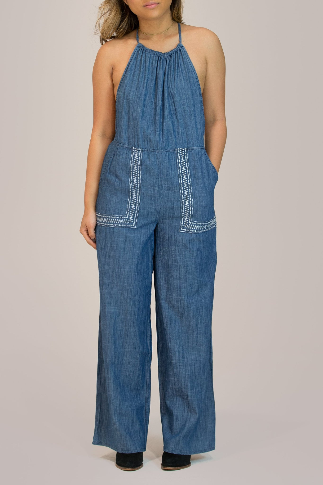 Denim Pocket Jumpsuit