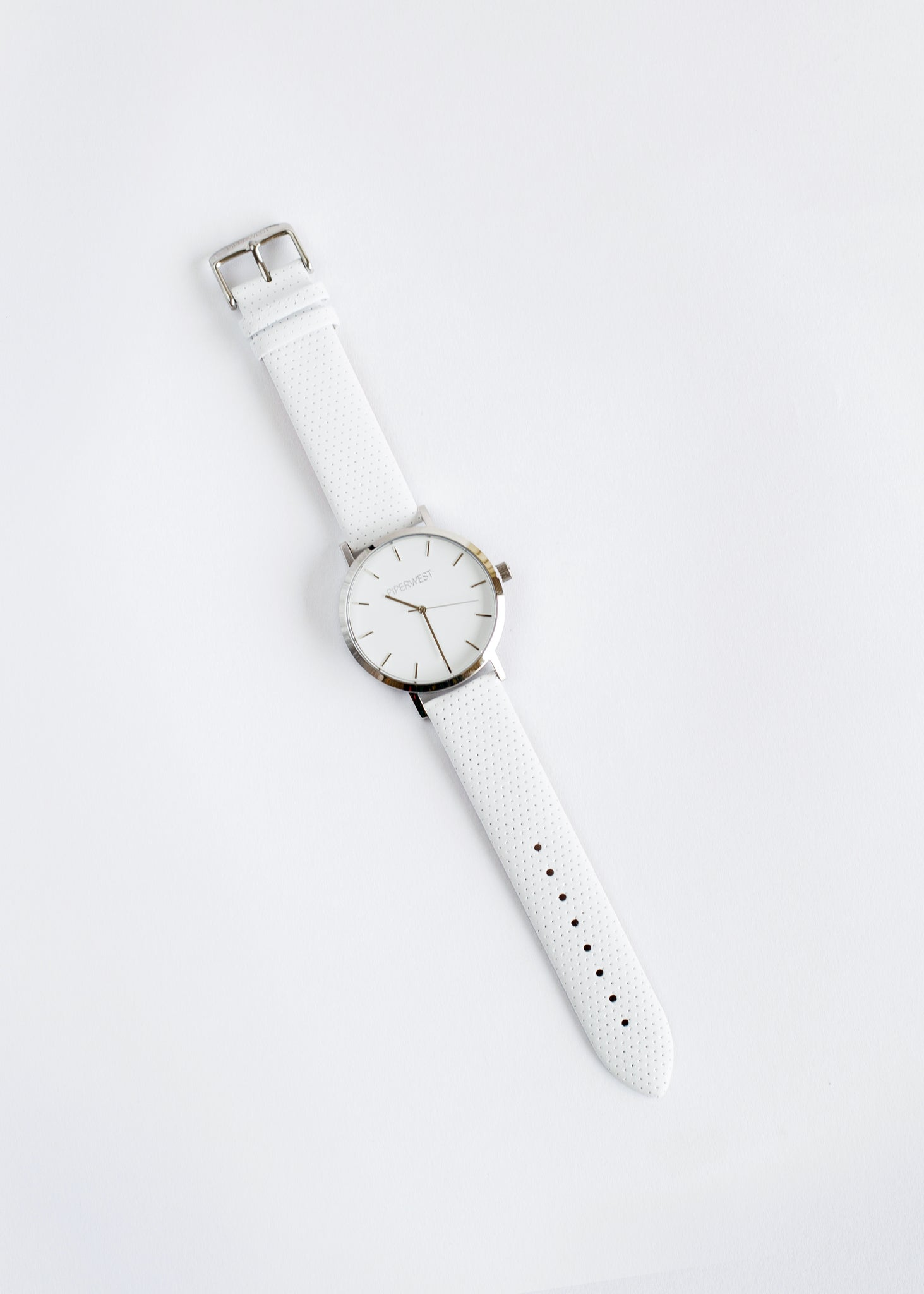 Classic Minimalist 42mm Watch Silver/White Perforated
