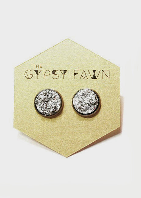 Silver Galaxy Druzy Stud Earrings
