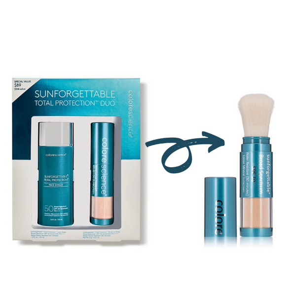 BOGO Colorescience Sunforgettable Total Protection Duo+ Colorescience Sunforgettable Brush SPF 30 in Fair(Save $11)