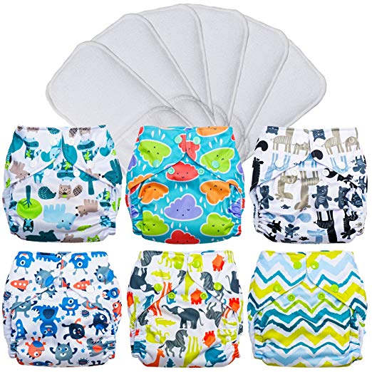 FuzziBunz Pocket Cloth Diapers 6 Pack Bundle with Microfiber Inserts