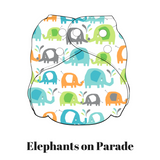 Elephants On Parade | FuzziBunz | First Year Pocket Cloth Diapers