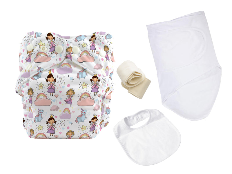 ONE SIZE DIAPER BUNDLE W 100% COTTON MUSLIN SWADDLE AND BIB