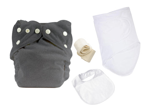 ONE SIZE DIAPER BUNDLE W 30% COTTON / 70% BAMBOO MUSLIN SWADDLE AND BIB