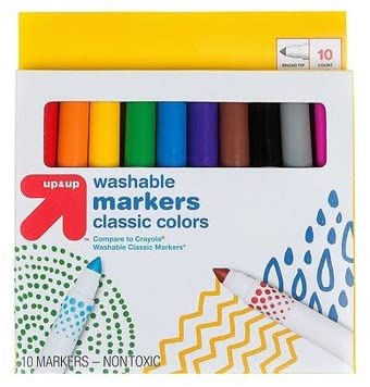 Markers Broad Tip Washable Classic Colors 10ct (Compare to Crayola174; Washable Classic Markers) - up & up153; Multicolor