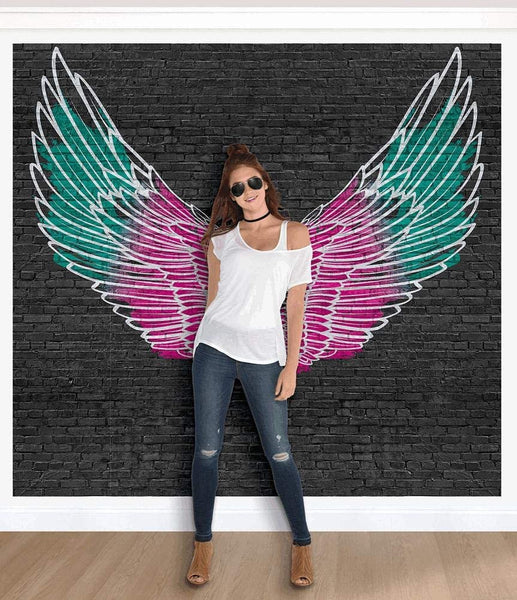 Angel Wings Mural Deluxe Party Scene Setter Set, Combined, 9' x 8.4', 9 Pc.