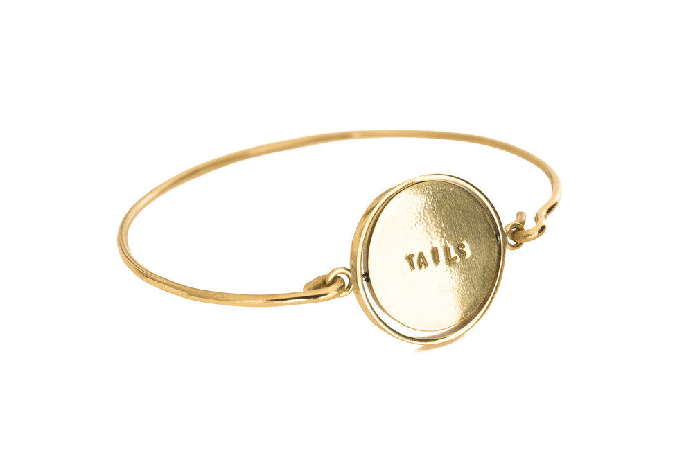 HEADS / TAILS Reversible Bangle - Gold Plated
