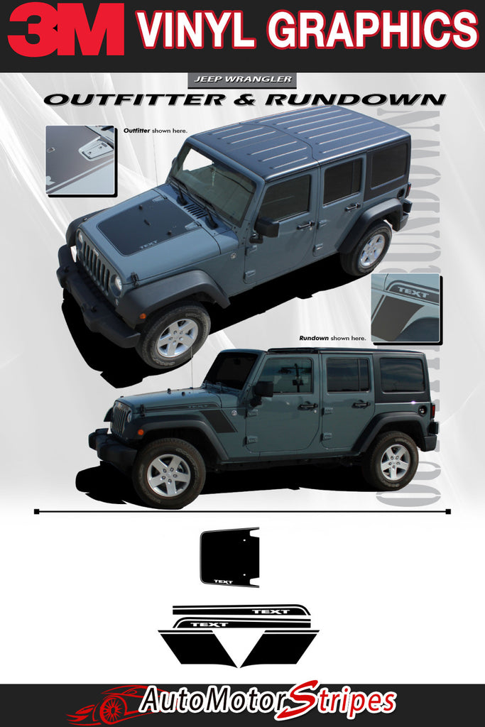 Jeep Wrangler RUNDOWN vinyl graphic and striping packages, brand new from AutoMotorStripes!