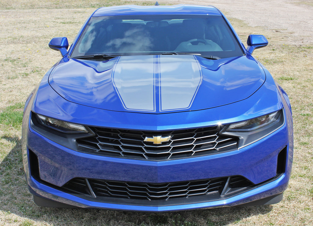 2019 Chevy Camaro Racing Stripes Rev Sport with Pin Outline Rally Hood Decals Vinyl Graphics Kit