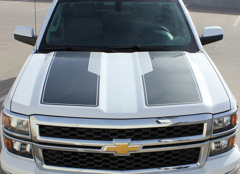 2014-2015 Chevy Silverado 1500 Rally Plus Edition Style Truck Racing Vinyl Graphics 3M Stripes Kit