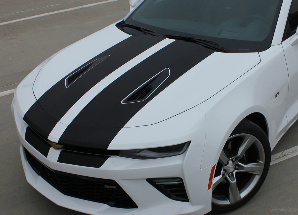 2016 2017 2018 Chevy Camaro Cam-Sport OEM Factory Style Hood Rally Decals 3M Racing Stripes Kit fits SS RS V6