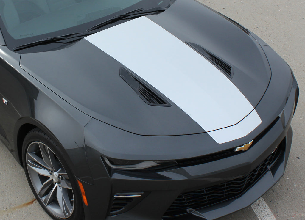 2016 2017 2018 Chevy Camaro Overdrive Center Wide Hood Roof Trunk Spoiler Rally Racing 3M Stripes Kit fits SS RS V6