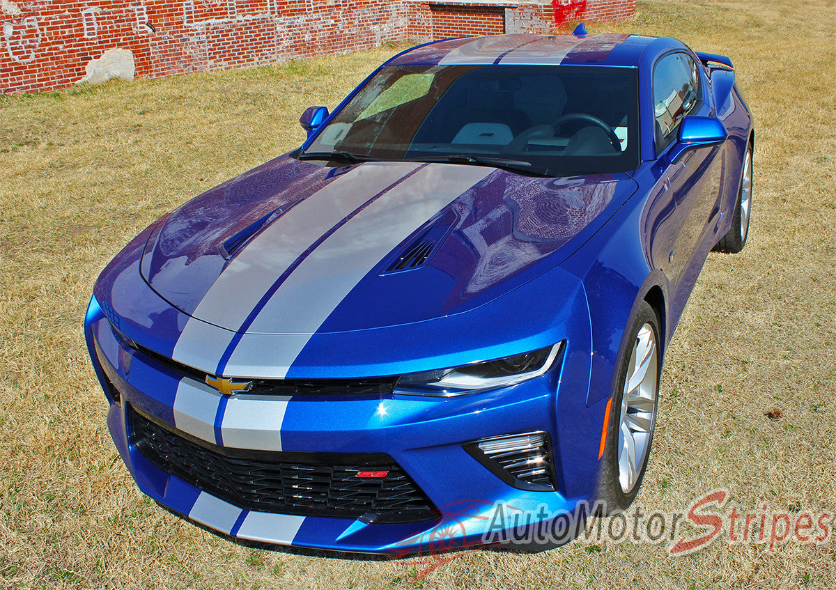Chevy Camaro Racing Stripes with Avery Supreme Wrap or 3M 1080 vinyl material.