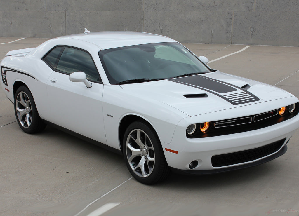 2008-2019 Dodge Challenger Cuda Strobe Combo Mopar OEM Factory Style Rear Quarter Panel and Hood Rally Vinyl Graphics 3M Decals Kit
