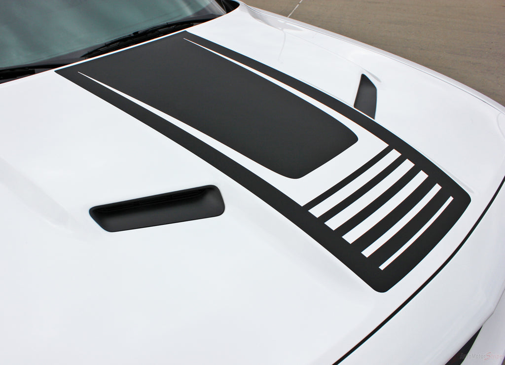 2008-2019 Dodge Challenger Cuda Strobe Hood Only Mopar OEM Style Hood Rally Vinyl Graphic 3M Decals Package