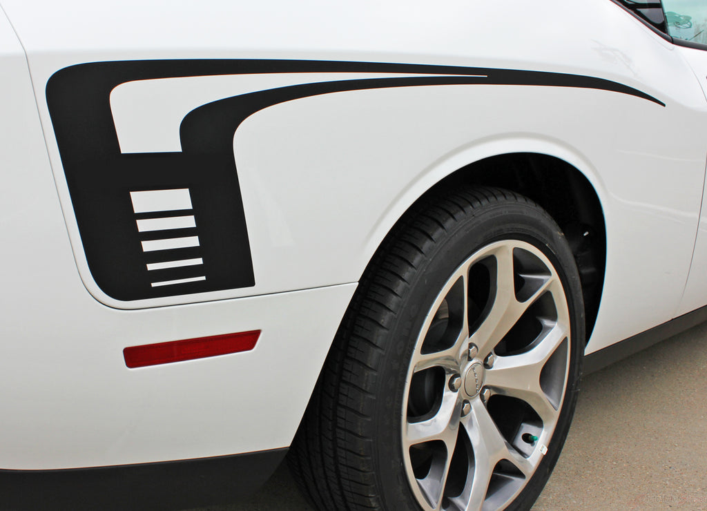2008-2018 Dodge Challenger Cuda Strobe Rear Sides Only Mopar OEM Factory Style Rear Quarter Panel Rally Vinyl Graphics 3M Stripe Kit