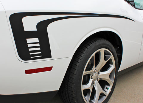 2008 2009 2010 2011 2012 2013 2014 2015 2016 2017 2018 Dodge Challenger Cuda Strobe Rear Sides Only Mopar OEM Factory Style Rear Quarter Panel Rally Vinyl Graphics 3M Stripe Kit