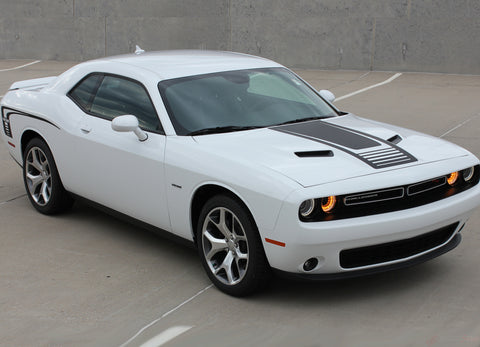 2008-2020 Dodge Challenger Cuda Strobe Combo Mopar OEM Factory Style Rear Quarter Panel and Hood Rally Vinyl Graphics 3M Decals Kit